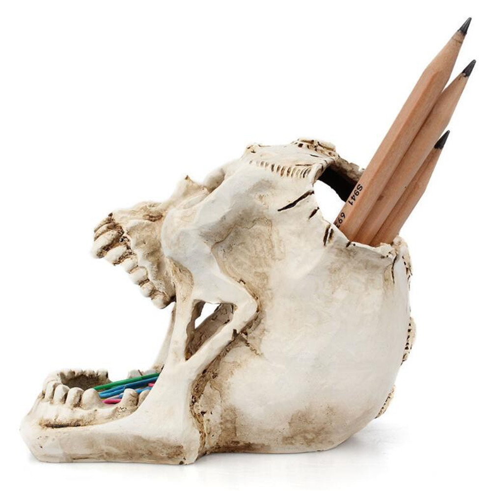 Resin Craft Skull Head Jewellery Box Desktop Storage Box Container Sculpture Ornament Pencil Pen Holder Home