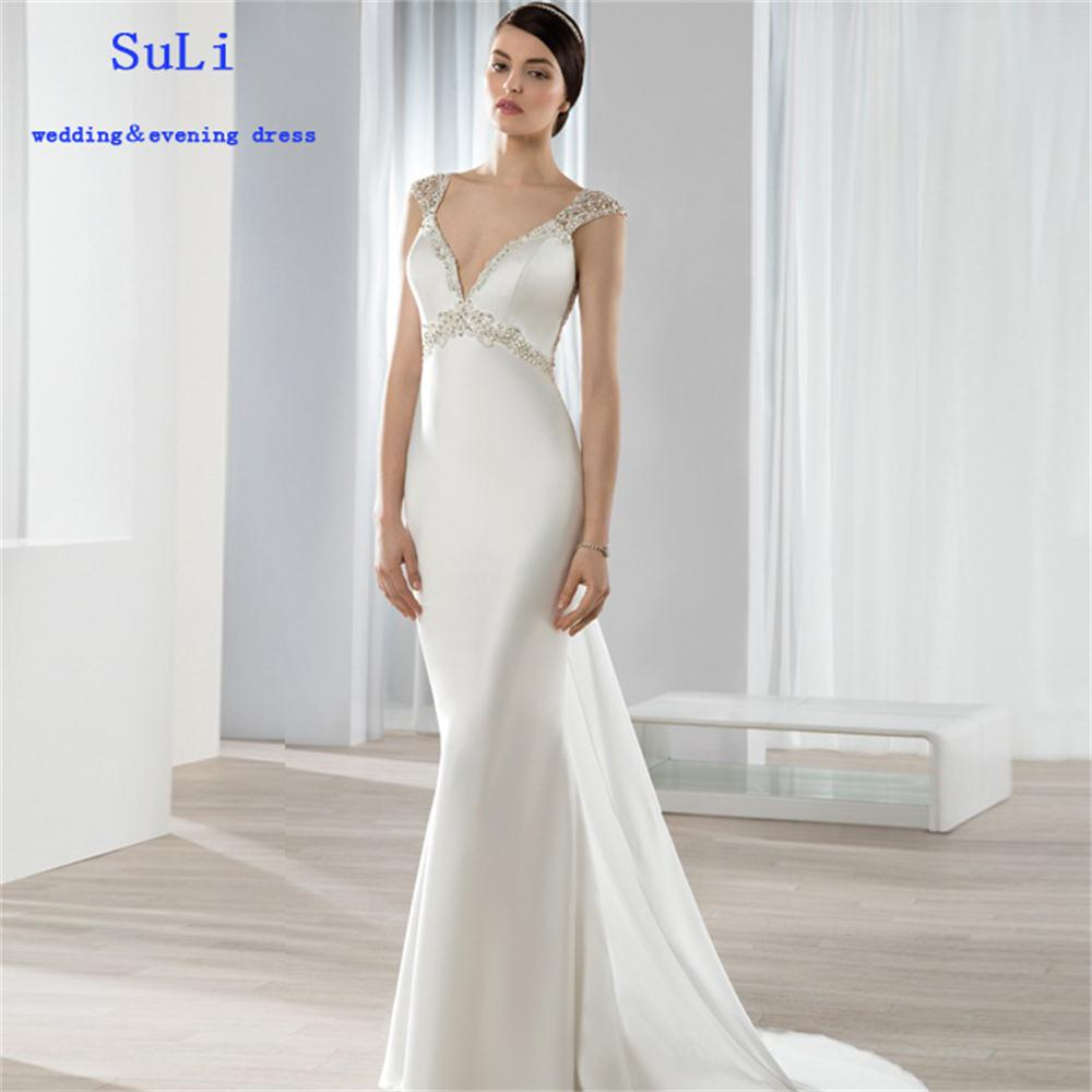 Ff208 sexy a line v neck satin sheath luxury beaded for V neck satin wedding dress