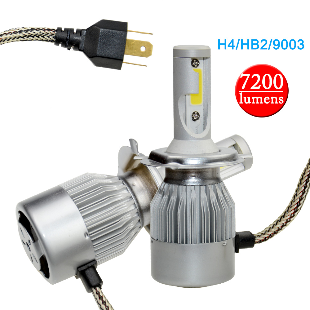 OkeyTech LED Car Auto Headlight H4 9003 HB2 Hi/Lo Car Light 72W/set Bulb 7200/LM Fog Light Replacement Headlamp 6000K Lamp