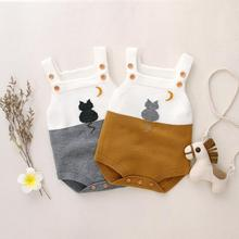 Baby Girls Bodysuits Summer Sleeveless Newborn Toddler Boys Overalls Cute Cat Knit Infant Kids One Piece Coverall Jumpsuit 0-18M