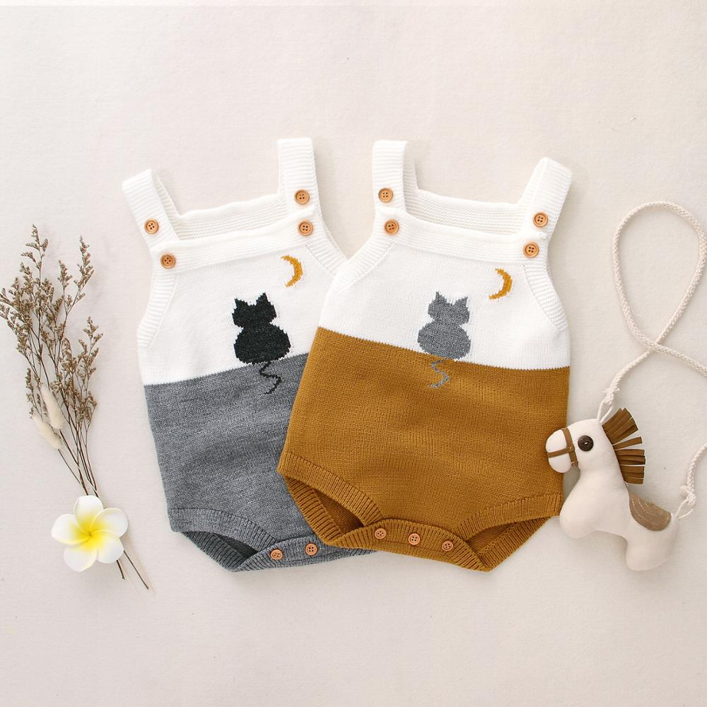 Newborn Baby Bodysuits Summer Sleeveless Toddler Boys Girls Overalls Cute Cat Knit Infant Kids One Piece Coverall Jumpsuit 0-18M