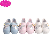 Doll shoes lovely hollow-out 3 - color star print dress shoes fit 16 inch Girl dolls and 14.5-inch Girl doll accessories r7 hollow out fit