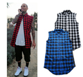 Man Mens Summer Style Tyga Swag Hip Hip Hiphop Top Tees T Shirts Red Black Blue Plaid Side Zzipper Urban Clothing Clothes
