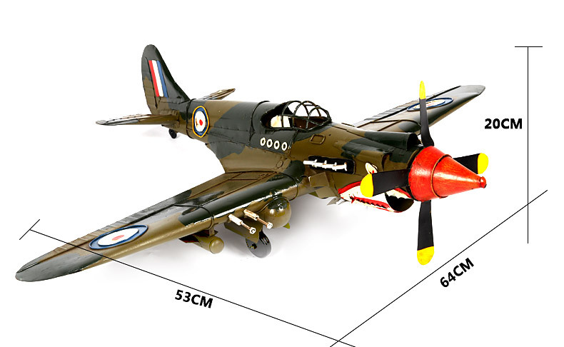 1pcs 20 inch hand made metal fighter model The Flying Tiger fighter plane for desk deck