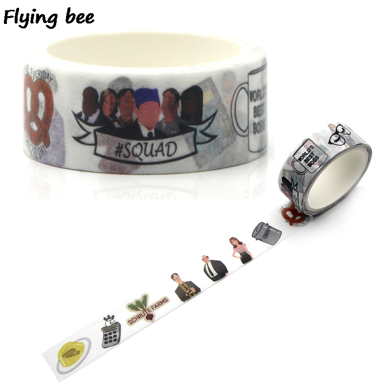 Flyingbee 15mmX5m Paper Washi Tape Office Funny Staff Adhesive Tape DIY Scrapbooking Sticker Funny Label Masking Tape X0325