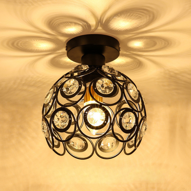 Dazzling Ceiling Lights Vintage Industrial Ceiling Lamp Glass Iron Crystal Light For Hallway Bedroom Stairs Restaurant Balcony цена и фото