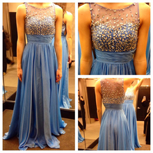 Charming Blue Chiffon Prom Dress See Though with Beaded and Crystal Long Prom Dresses Sexy Prom Gowns Sleeveless Chiffon Dresses