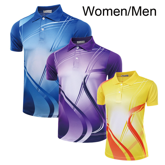 Table-Tennis-Jerseys Badminton Pingpong Sports-Uniforms Turn-Down-Collar Polyester Female