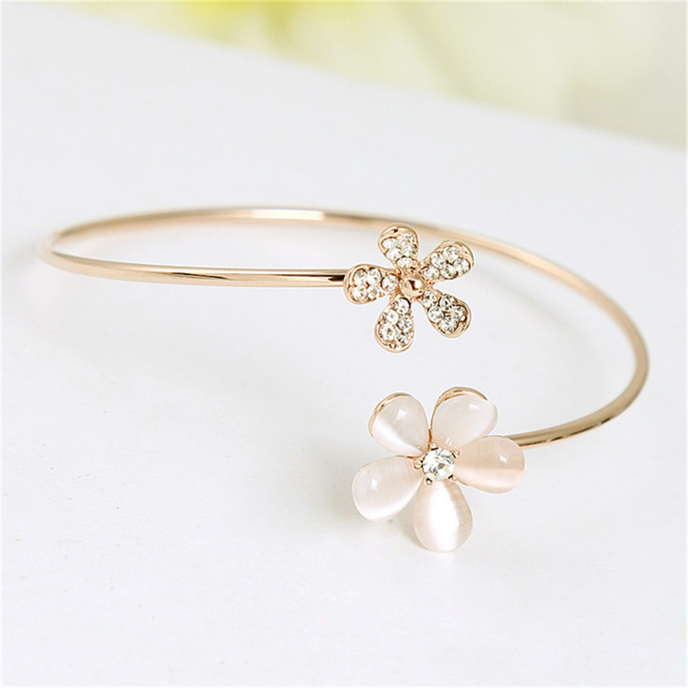 2017 Bracelet Cuff for Woman Men Gold Silver Plated Round Flower Crystal Screw Cuff Bangles Festival Gift