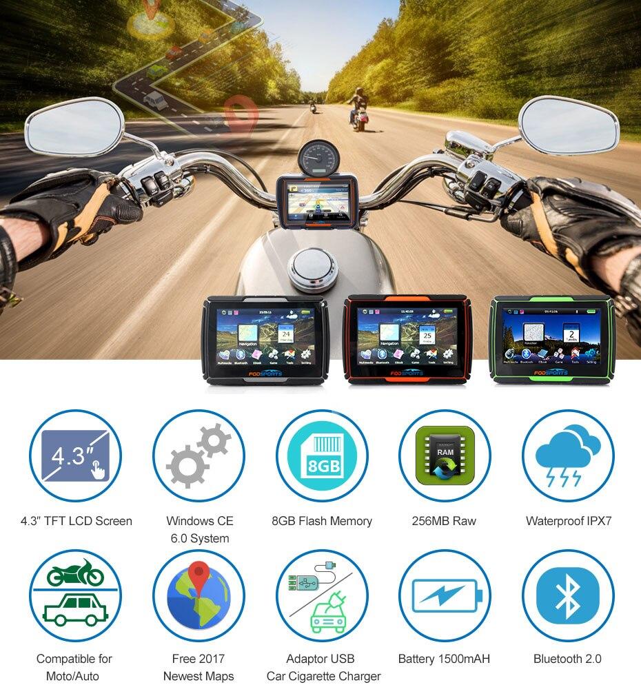 Fodsports 4.3 Polegada motocicleta navegação 8 gb 256ram ipx7 à prova dwaterproof água moto gps navegador do carro fm sistema windows livre mapas - 5