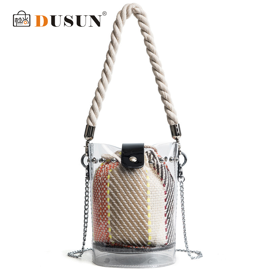DUSUN 2Pcs Bucket Handbags PVC 2018 Clear Transparent Bucket PVC Bag Barrel Shaped Small Mini Handle Handbags Summer Beach Bags pumping bucket bag rivet handbags mini bucket bag