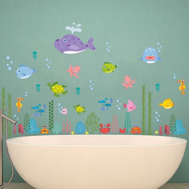 Unterwasserwelt Wandaufkleber Cartoon Fisch Dolphin Wandkunst