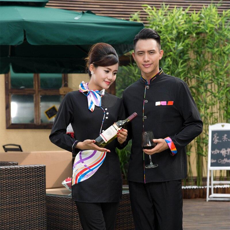 Hotel Restaurant Waiter Work Clothes Autumn Long Sleeve Work Uniform Men font b Women b font