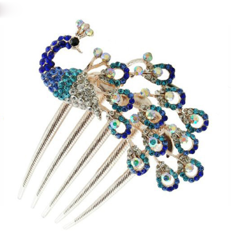 Vintage Hair Pin Rhinestone Gem Peacock Barrette Hairpin Hair Clip Wedding Bridal Hair Crafts Jewelry Accessories DIY For Women