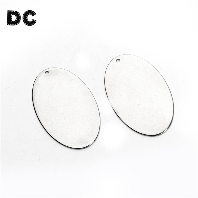 5Pcs/lot 25x39mm Stanless Steel Oval Metal Stamping Blank Tags Dog Tags for Men Necklace Bracelet Jewelry Making Accessories