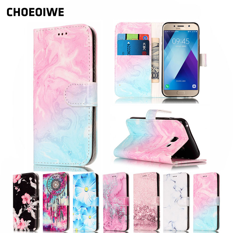 CHOEOIWE Flip Leather Cases Covers for Samsung Galaxy SM-A520F A5 2017 A520 A5200 A520F Wallet Case Granite Marble Cover image
