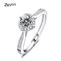 Zeyan 925 Sterling Silver Romantic Heart Ring Wedding Jewelry Clear Crystal Promise Ring For Women Open