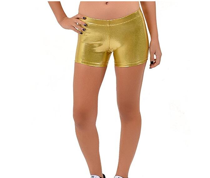 Girls Metallic Dance Shorts Middle Waist Dance Performance Shorts Gold Rave  Gymnastics Ballet Dance Shorts Bottoms