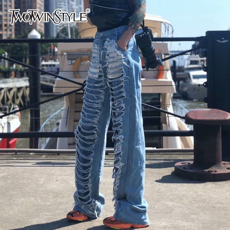 TWOTWINSTYLE Jeans For Women Wide Leg Pants High Waist Hole Loose Denim Trouser Female Clothes Autumn Fashion Streetwear Tide