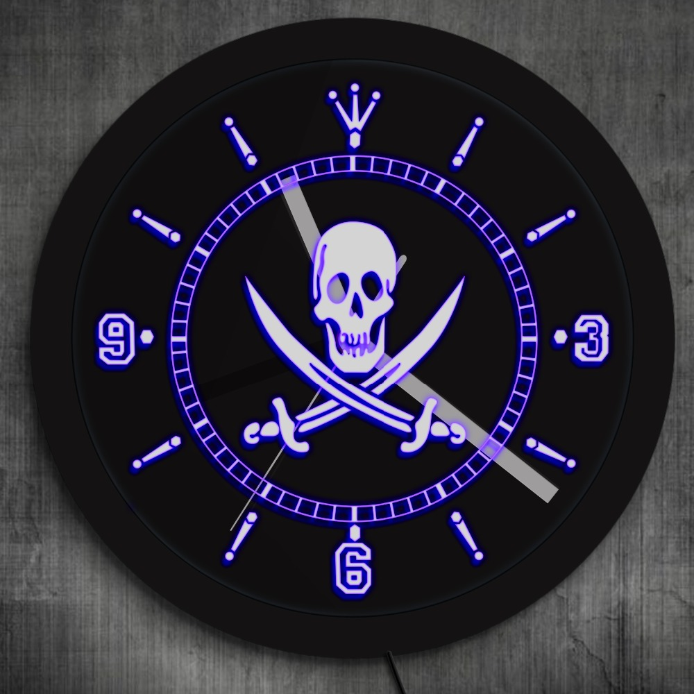 Jolly Roger Pirate LED Enseigne Au Néon Horloge Murale avec éclairage LED crâne Avec Croisé le Fer Horloge Murale Pub Bar LED Mur Décor