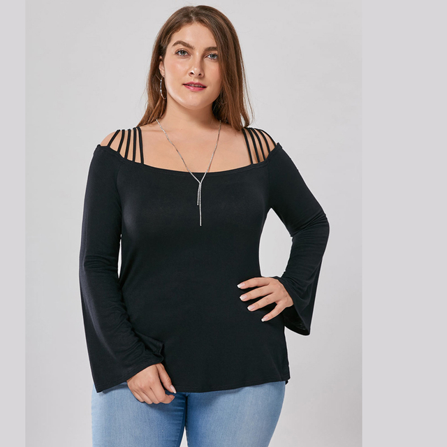 Large size Plus Size FlareSleeve Slash Neck Cotton T-Shirts 2017 Ladies Womens Lagenlook Siold Color Casual Loose Tops NEW Tee 1