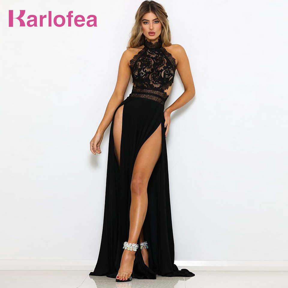 def805a00fdbc Karlofea Sexy Female Evening Party Dress Halter Lace Patchwork Black Long  Dress Elegant Backless High Split