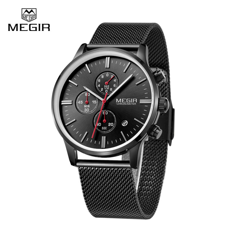 Megir Brand Men s Watch Clock Reloj Hombre Top Luxury Stainless Steel Mesh Strap Sport Quartz