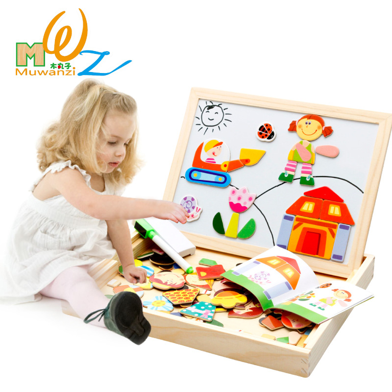 Mwz Wooden Toys Easel Kids Farm Cartoon Magnetic Drawing