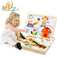Mwz giocattoli di legno cavalletto bambini farm cartoon disegno magnetico bordo di puzzle pittura blackboard learning & education giocattoli per i bambini