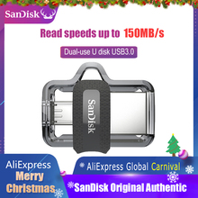 Sandisk Extreme USB Flash Drive 128GB 64GB 32GB 16GB Dual OTG Pen Drive High Speed Memory U Disk Micro USB3.0 Card SDDD3