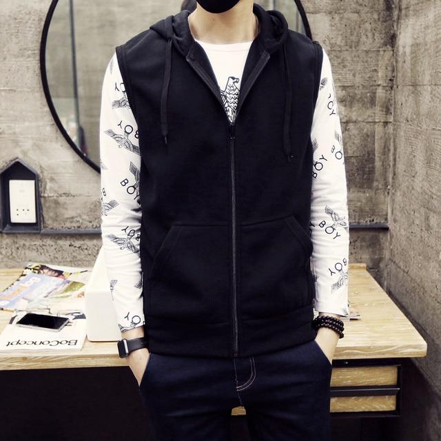 Топ 2016 весной и осенью мужской моды случайные Корейский trendless куртка чистый белый самосовершенствование Тонкий С Капюшоном отдых жилет
