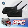 US Stock 2PCS/lot 1200M Motorcycle Bluetooth Helmet Intercom for 6 riders BT  Wireless Waterproof  Interphone Headsets MP3
