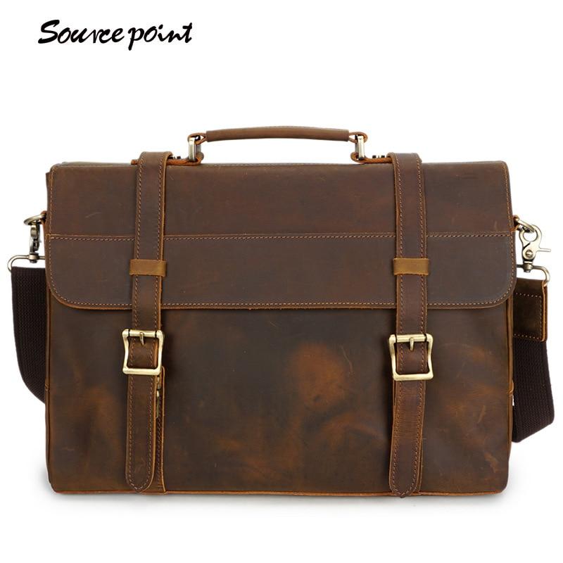 SOURCE POINT Manual Leather Messenger Bag Men England Vintage Genuine Leather Shoulder Bag Male Business Cowhide Handbag YD-8049 сумка для ноутбука wy a023 point breaker messenger bag синяя