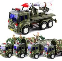 Free shipping High quality Kids Military chariot inertia big truck tankers missile bring doll soldiers
