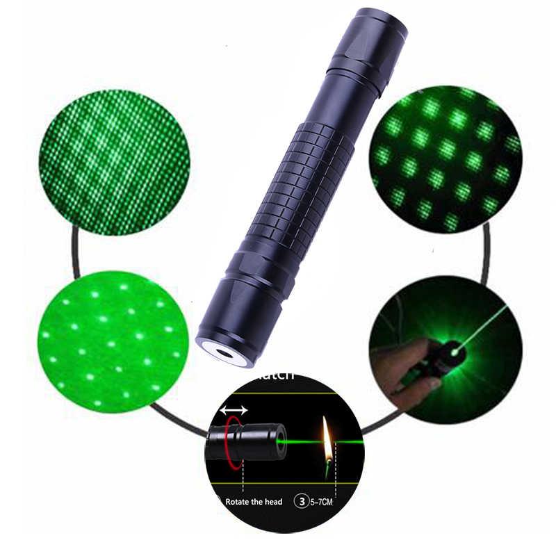 Мощная лазерная указка ручка свет 532nm 5 mw лазерная указка регулируемый фокус зеленые лазеры фонарик с 18650 батареей и зарядным устройством
