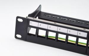 Image 3 - Panneau de raccordement blanc 12ports, adapté aux modules keystone cat.5e/cat.6, support de 10 pouces Barre de Support pour la gestion des câbles