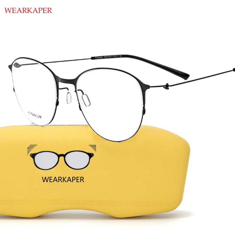 WEARKAPER Titane Lunettes Cadre Hommes Ronde Ultra-Léger Lunettes de Prescription Femmes Myopie Optique Cadre Coréen Sans Vis Glasse