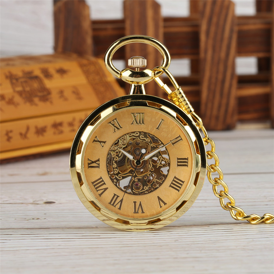 Golden Skeleton Mechanical Hand Winding Pocket Watch Roman Numerals Display Open Face Luxury Vintage Watch With 30 Cm Chain