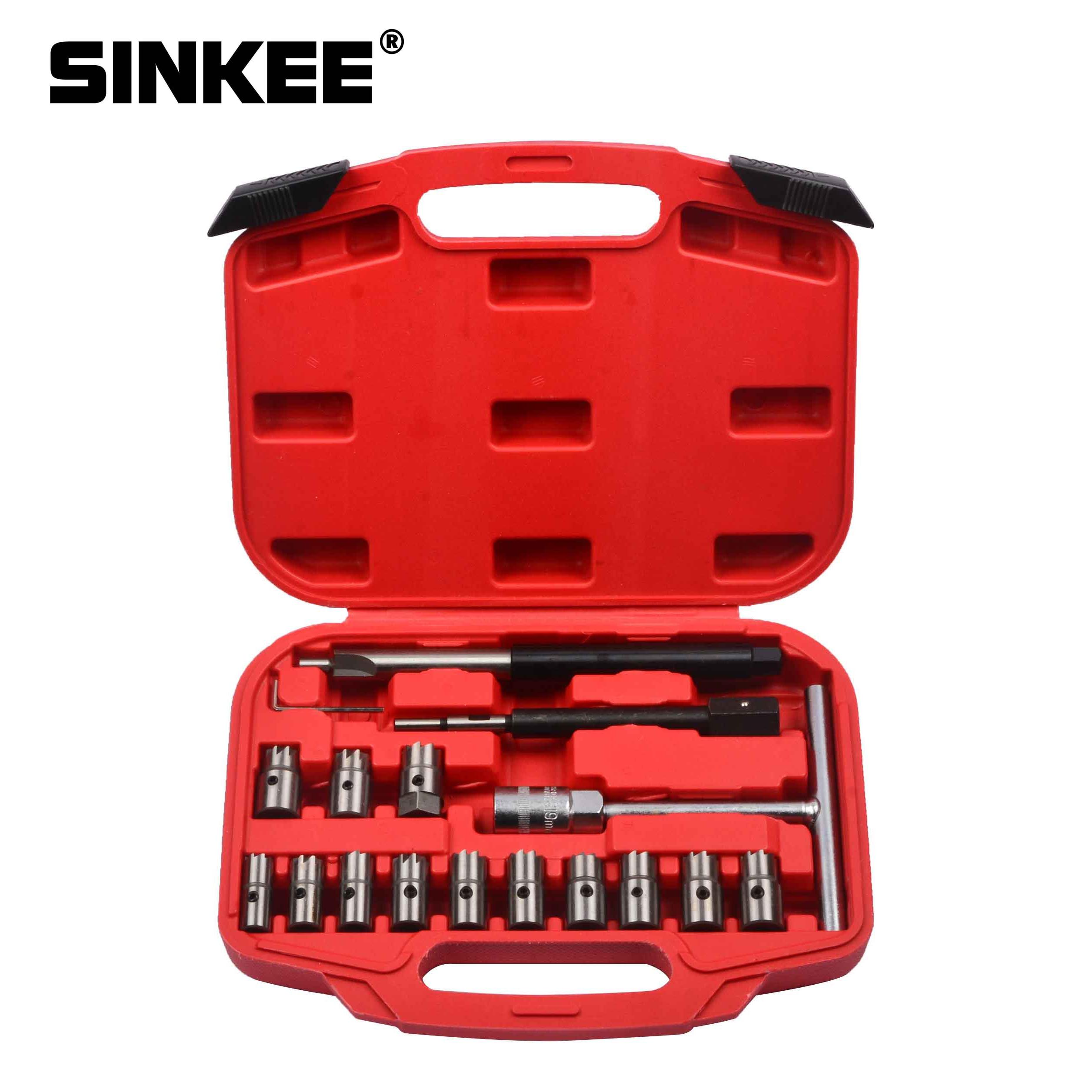 17 pièces Diesel injecteur nettoyant propre carbone décapant siège coupe ensemble d'outils de coupe SK1364