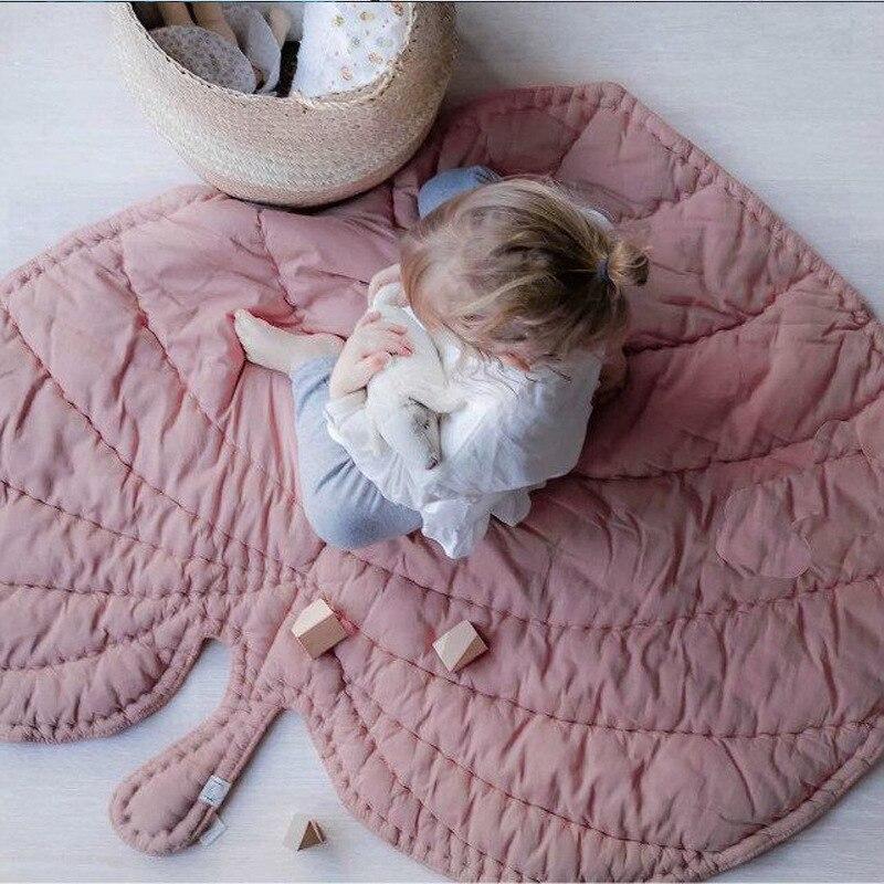 Tapis de jeu pour enfants en feuille solide MG26 couverture en coton fait main décor de chambre de bébé livraison gratuite tapis rampant petit tapis de jeu - 3