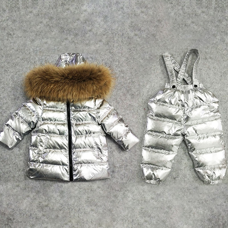 Children Boy Girls Winter Hooded Snow Wear Faux Fur Collar Outwear Duck Down Jacket Pant ...