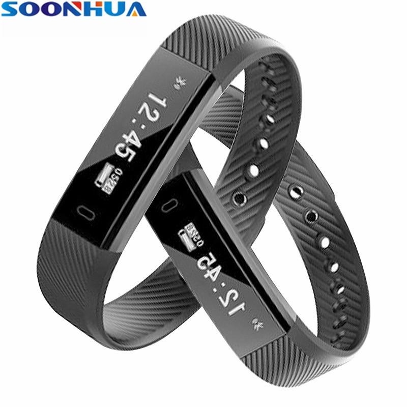 SOONHUA ID115 Sport Banda Intelligente Del Braccialetto Del Polso Wristband Fitness Tracker Monitor Allarme Orologio Smartband Per iphone Android