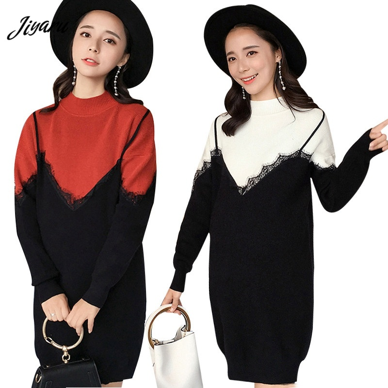 Maternity Loose Knit Dress Women Long Sweater Autumn Winter Maternity Dresses Loose Pregnant Woman Dresses Pregnancy Clothing loose knit scalloped hem dolman jumper