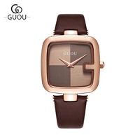 GUOU 2017 Watch Women Top Brand Watches Leather Strap Women Watches Casual Fashion Watch Relogio