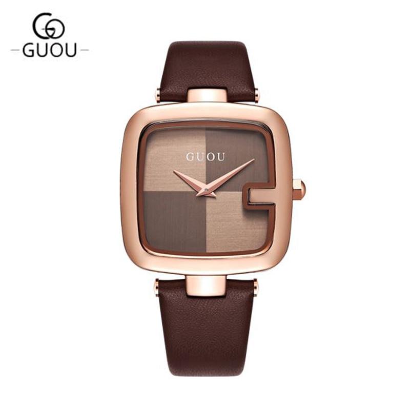 GUOU 2017 Reloj Mujer top marca Relojes Correa de Cuero Relojes de - Relojes para mujeres