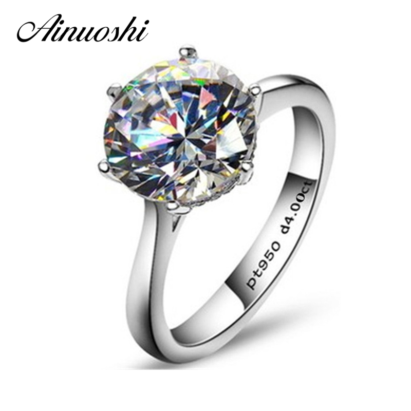 AINOUSHI Luxury Classic Solitaire 6 Klør 4 karat NSCD Ring for kvinner 925 Sterling Silver Engasjement Bijoux Femme Bryllup Ring