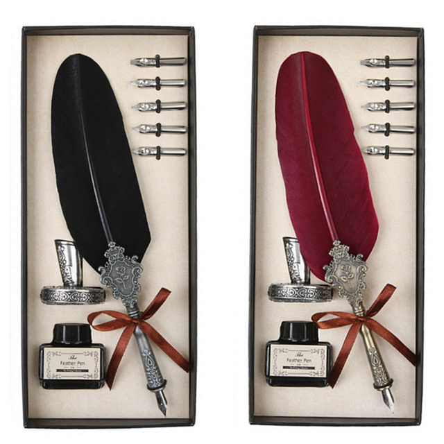 10 Style Classic Antique Feather Pen Metal Nib Writing Pen With Beautiful Gift Box Christmas Wedding Gift Quill Fountain Pen