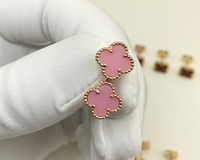 Mini Tiny Flower Pink And Blue Clover Silver Earring For Women