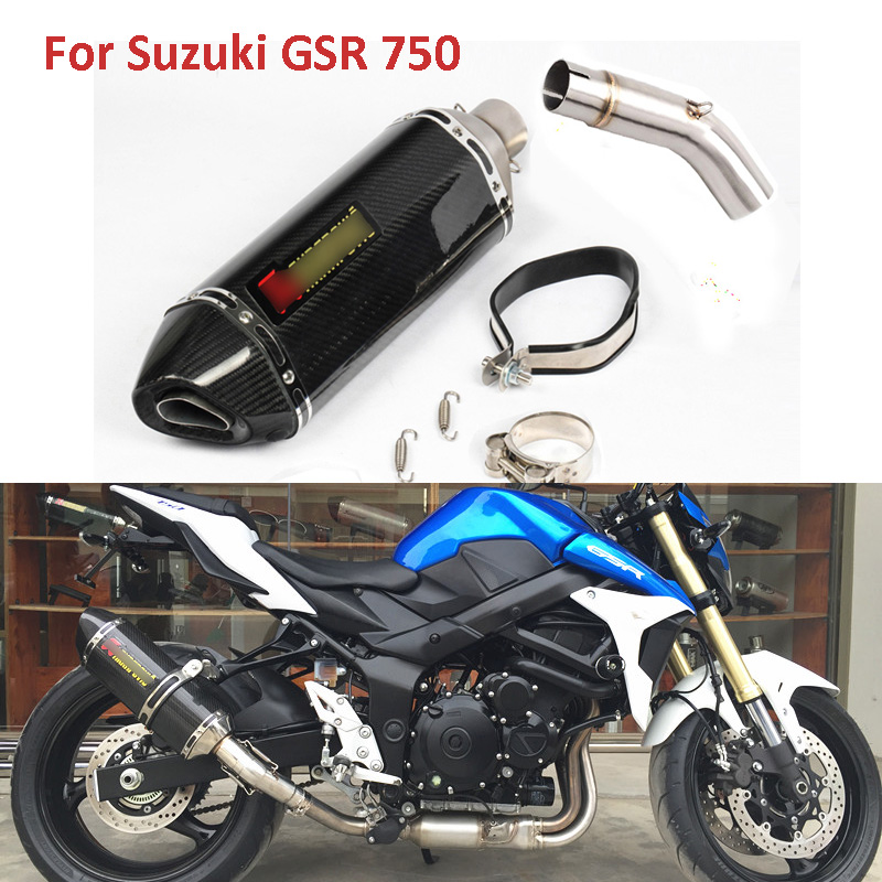 Motorcycle Exhaust System Muffler & Middle Mid Pipe Whole Set Pipe Escape Connect Linking Pipe For Suzuki GSR 750