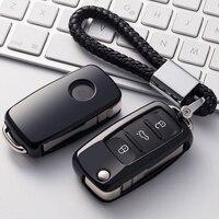 OkeyTech Soft TPU Car Key Fob Cover With Key Chain For VW Passat Golf Jetta Bora
